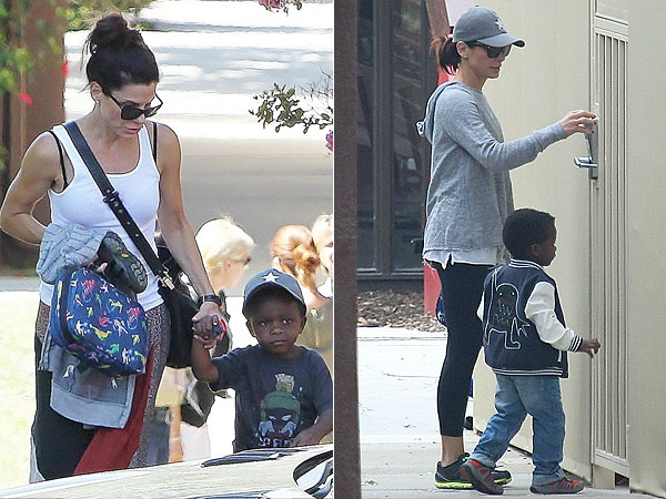 Sandra Bullock Son Louis Wearing Same Hat in L.A.