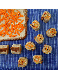 Weelicious Carrot Hummus Sushi Sandwiches