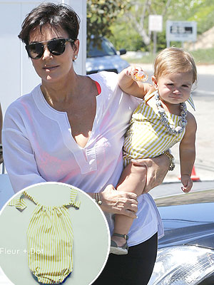 Kris Jenner Kourtney Kardashian Penelope Disick Fleur + Dot Striped Romper