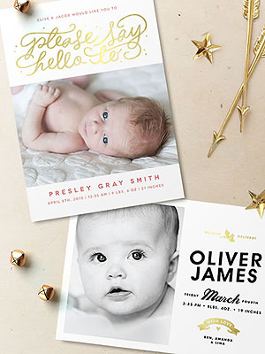 Minted Foil Pressed Birth Announcements