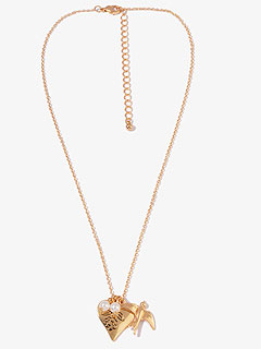Forever 21 Dove and Heart Charm Necklace