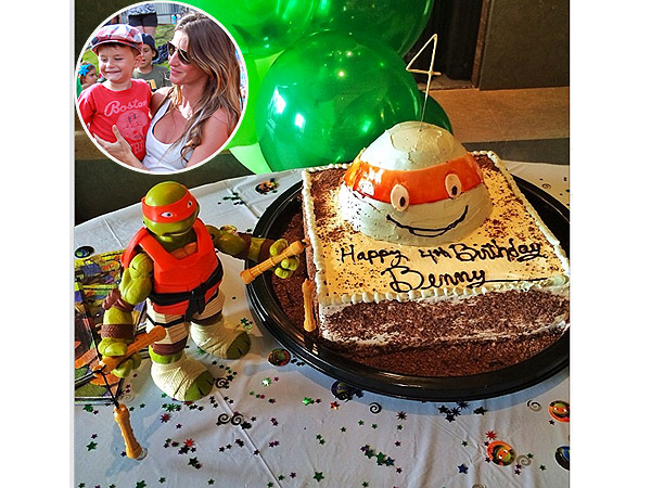 Gisele Bündchen son Benjamin Birthday Teenage Mutant Ninja Turtles Cake