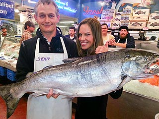 What a Catch! Hilary Swank Poses with Giant Fish in Seattle | Hilary Swank