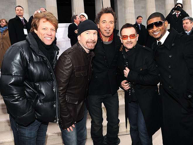 BON JOVI, U2, BRUCE SPRINGSTEEN & USHER photo | Bono, Bruce Springsteen, Jon Bon Jovi, The Edge, Usher