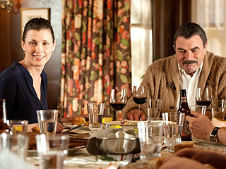 Tom Selleck and Bridget Moynahan Film Blue Bloods Dinner Scene