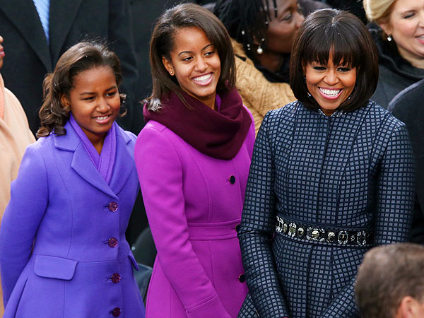 Michelle, Sasha and Malia Obama Don Colorful Coats at Inauguration