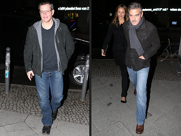 Matt Damon, George Clooney & Stacy Keibler Dine in Berlin