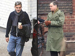 George Clooney Starts Snowball Fight with Matt Damon | George Clooney, Matt Damon