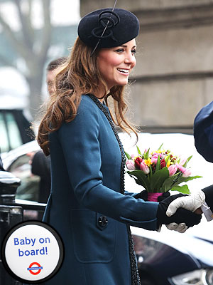 Kate's Latest Accessory: 'Baby on Board!' Button