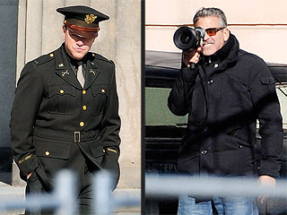 PHOTOS: Matt Damon & George Clooney Look Sharp on Berlin Film Set | George Clooney, Matt Damon