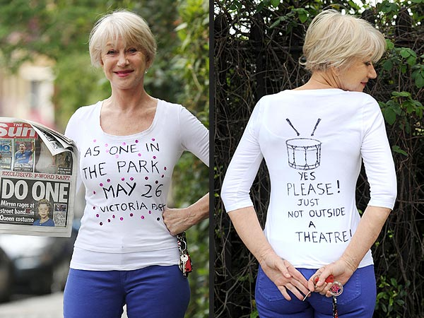 Helen Mirren in Queen Elizabeth II Costume Royally Rips Noisy Drummers| London, The Queen, Helen Mirren, Queen Elizabeth