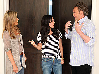 See Jen's Awkward Friends Reunion with a Cameo by Ellen DeGeneres | Courteney Cox, Jennifer Aniston, Matthew Perry