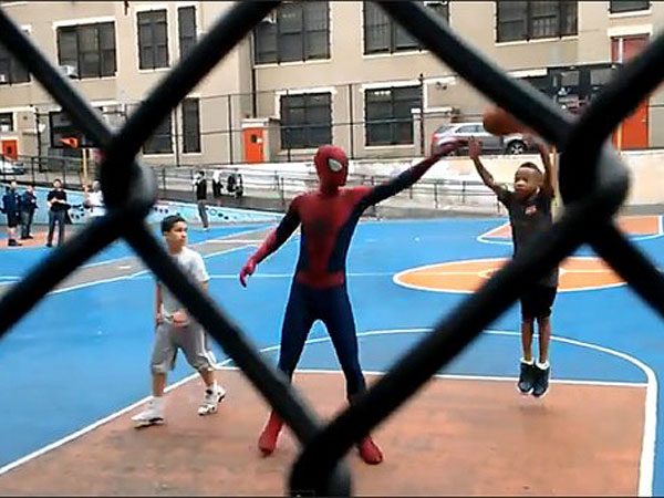 Spider-Man 2 Star Andrew Garfield Shooting Hoops in Costume with Kids?