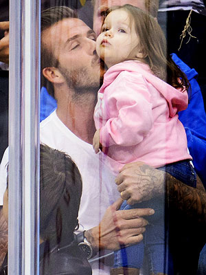 David Beckham Retired, Watches NHL Game with Harper Beckham