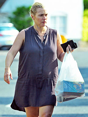 Kate Winslet Steps Out with a Growing Baby Bump