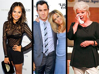 Chrissy Teigen Changes into 3 Wedding Dresses, Miley's Big #Change & More Weekend News | Chrissy Teigen, Jennifer Aniston, Justin Theroux, Paula Deen