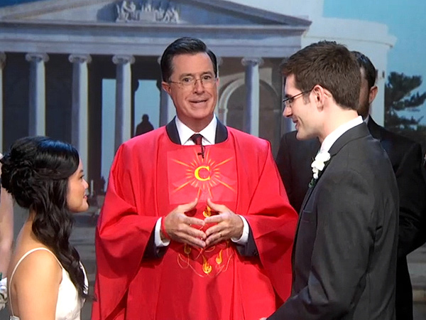 Stephen Colbert Hosts Wedding Because of Government Shutdown