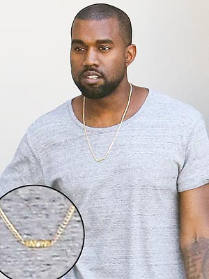 Kanye West Wears Necklace with Daughter Nori's Name