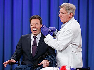 VIDEO: Harrison Ford Pierces Jimmy Fallon's Ear on Late Night