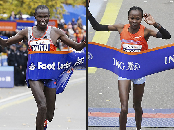 N.Y.C. Marathon: Kenyans Win Men's and Women's Races