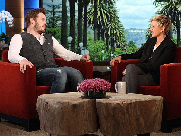 Chris Pratt with Ellen DeGeneres