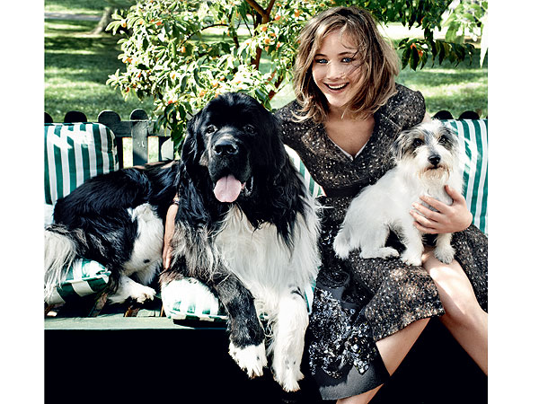 Jennifer Lawrence with Dogs in Vogue: Photo