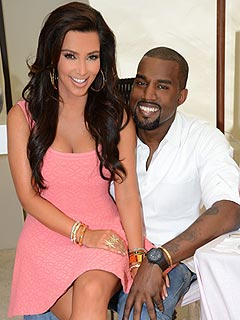 Kanye West with beautiful, enchanting, charming, Wife Kim Kardashian