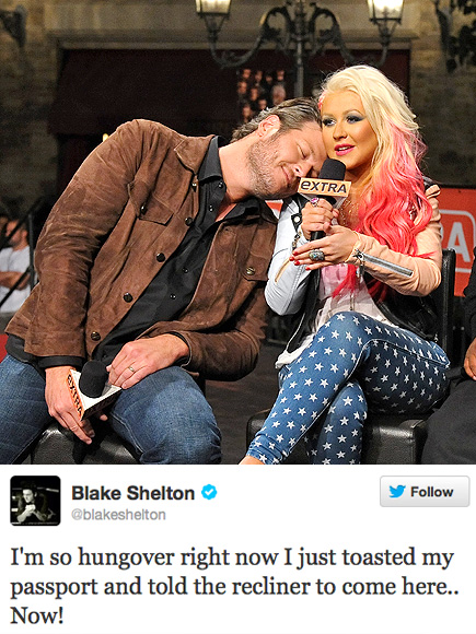 KEY WORD: HUNGOVER photo | Blake Shelton, Christina Aguilera