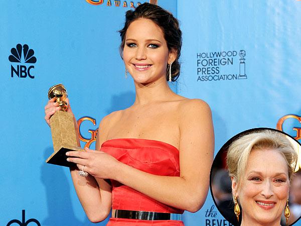 Jennifer Lawrence Wins Golden Globe, Says 'I Beat Meryl!'