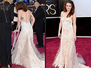 Kristen Stewart Accessorizes with Crutches at Oscars After Cutting Foot | Kristen Stewart