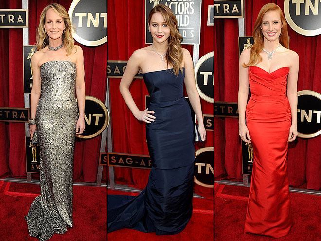 STRAPLESS DRESSES WITH CHOKERS photo | Helen Hunt, Jennifer Lawrence, Jessica Chastain
