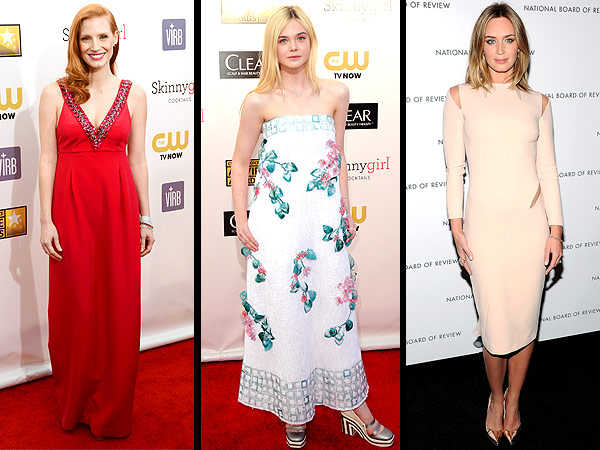 jessica chastain 600x450 Red Carpet Trend Report: The Scoop on Jeweled Necklines, Floral Prints and Slashed Styles
