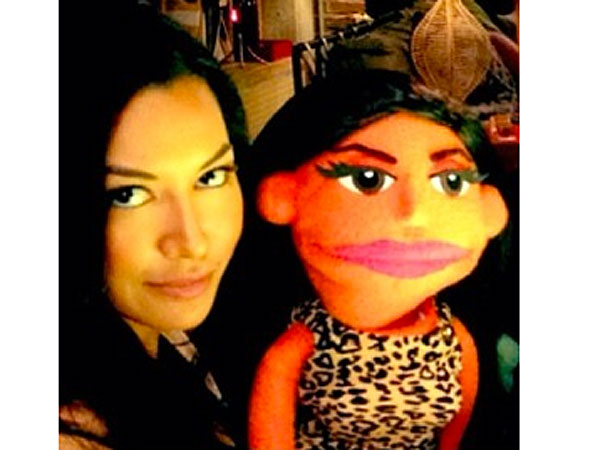 See Lea Michele and the Glee Cast Pose with Their Adorable Puppet Doppelgängers  Muppets, Avenue Q, Glee, Adam Lambert, Chris Colfer, Lea Michele, Naya Rivera