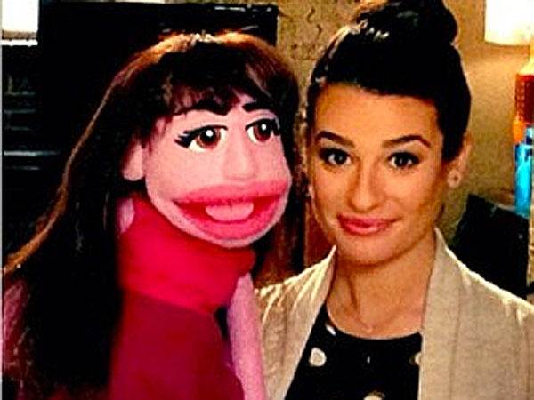 See Lea Michele and the Glee Cast Pose with Their Adorable Puppet Doppelgängers| Muppets, Avenue Q, Glee, Adam Lambert, Chris Colfer, Lea Michele, Naya Rivera