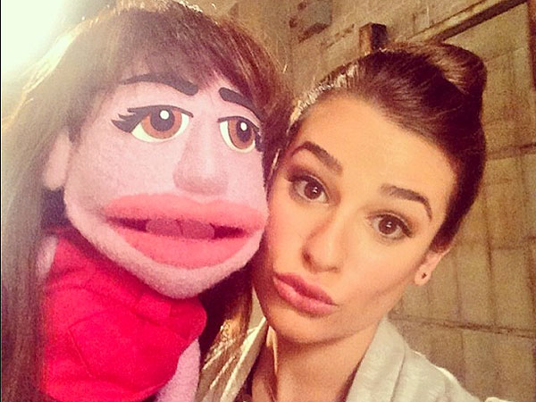 Glee Cast Poses with Puppet Look-Alikes