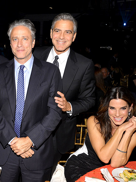 THREE'S COMPANY photo | George Clooney, John Stewart, Sandra Bullock