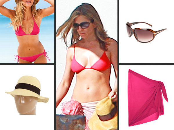 jennifer aniston 600x450 Jennifer Anistons Beach Vacation Bikini  for Less!