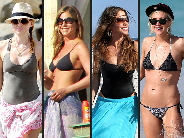 Jennifer Aniston, Ashlee Simpson in Bikinis