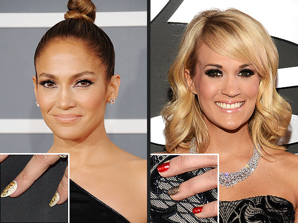 Grammy Nails Jennifer Lopez, Carrie Underwood