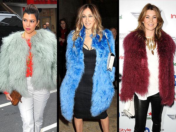 Kourtney Kardashian, Sarah Jessica Parker Furry Coats