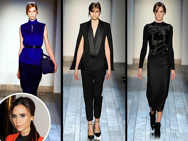 victoria beckham 600x450 Victoria Beckham's Fall Collection Dazzles the Critics (Plus Her Biggest Fans, David and Harper)