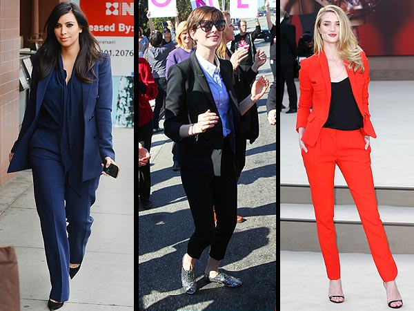 Kim Kardashian, Anne Hathaway Pantsuits
