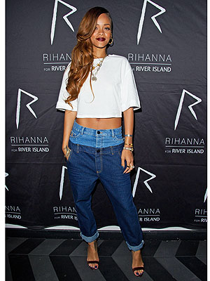 Rihanna double jeans