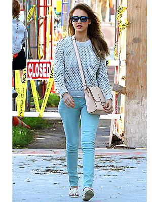 Jessica Alba green jeans