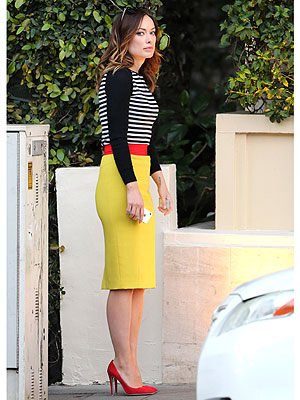 Olivia Wilde skirt stripes