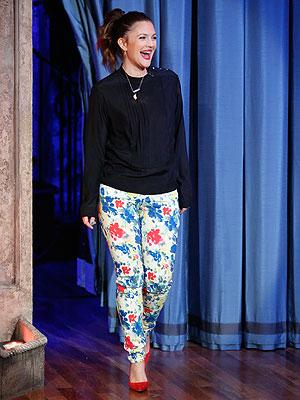 Drew Barrymore floral jeans