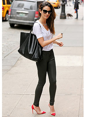 Lily Aldridge leather pants
