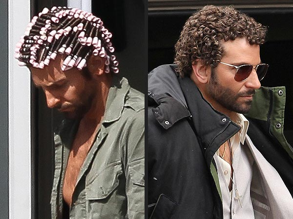 Bradley Cooper curly hair with pink rods styling a Jewfro for a new movie role
