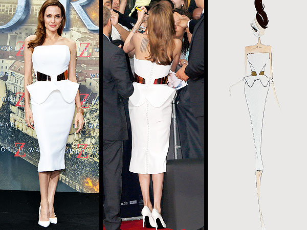 angelina jolie 600x450 The Scoop on Angelina Jolie's White World War Z Dress (Straight From the Designers!)