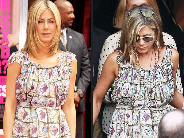 jennifer aniston 600x450 Jennifer Aniston Takes a Cue from Princess Kate, Rewears Red Carpet Dress to a Wedding